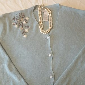Sweet Vintage Cardigan Sea Foam Green 1X